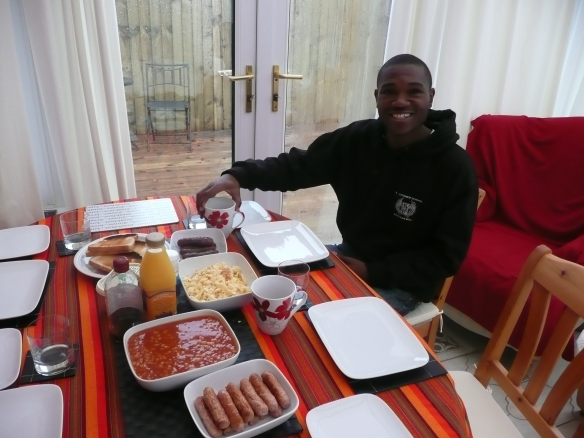AA Kenya accountant, Kevin about to dig into a full English