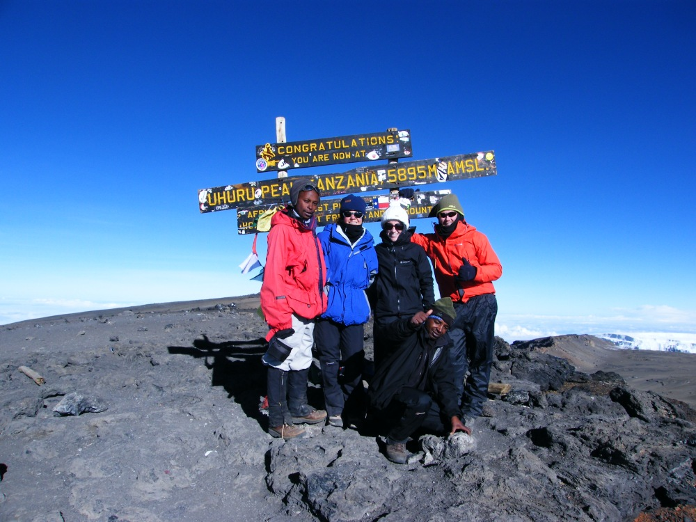 The summit of Kilimanjaro in Tanzania, the highest point in all of Africa and one of the seven-summits.