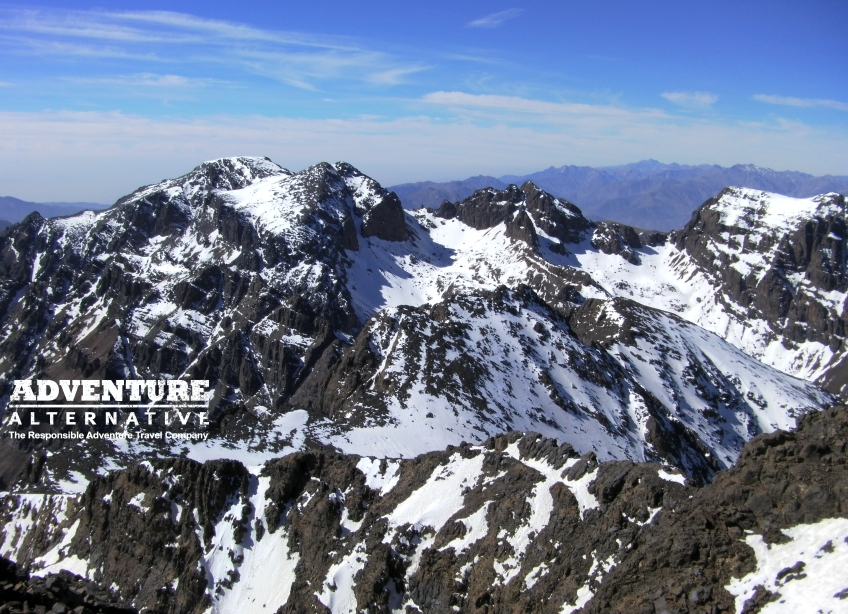 Looking at Ouanoukrim from Toubkal